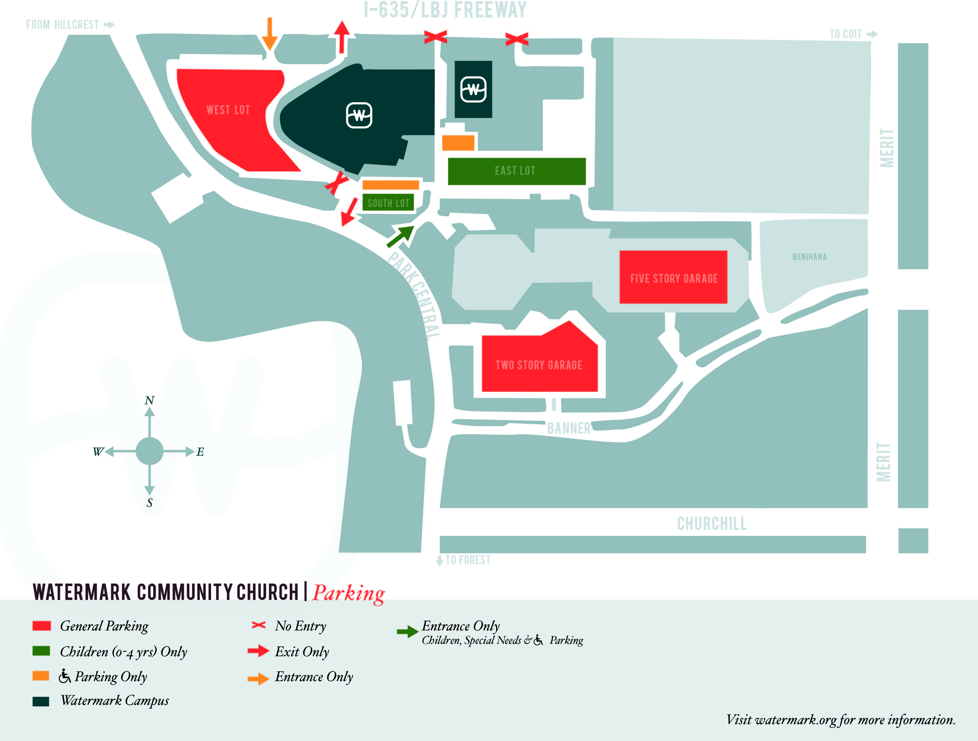 children s ministry watermark dallas parking map for sundays