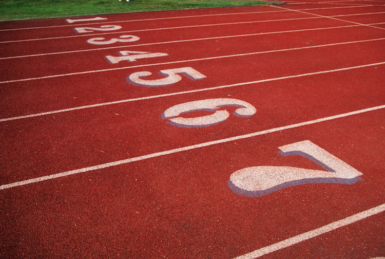 Starting area of a track and field running track